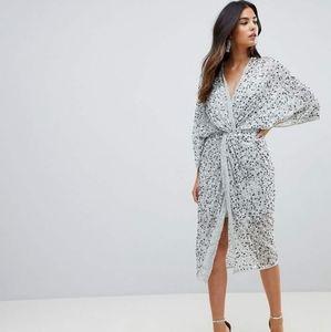 ASOS Embellished Sequin Kimono Midi Dress